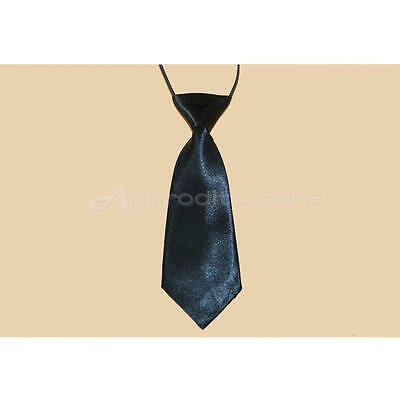 Fashion School Boys Children Kids Wedding Solid Colour Elastic Tie Necktie Black