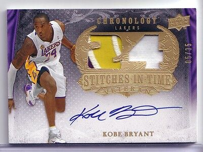 KOBE BRYANT 2007-08 UD CHRONOLOGY Stitches In Time Patch Autograph  05/35 AUTO
