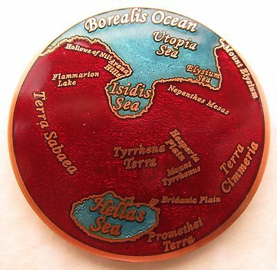 Oceans of Mars Geocoin - God of War Edition - Blue and Red Glass on Solid Copper