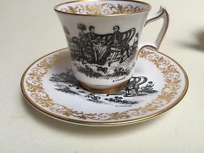 ROYAL CHELSEA Signed H Fennell  Tea Party Tea Cup and Saucer Set 45446H black