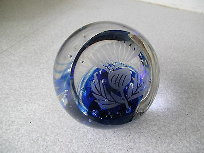 Large Heavy Scottish Etched Thistle Glass Paperweight- 4 Inches
