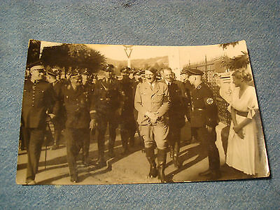 Rare Old German Photo Postcard, Hitler With Officers