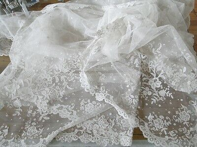 Circa19Thc. Elegant Brussels Lace Wedding Veil/shawl