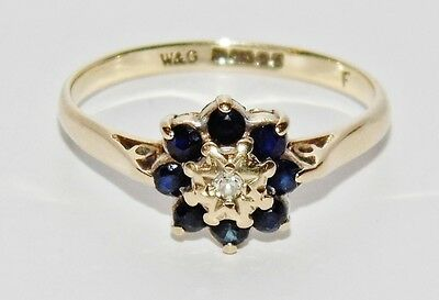 Vintage 9ct Yellow Gold Blue Sapphire & Diamond Cluster Ring - size O