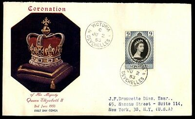 Seychelles 1953 Color Crown Cacheted QEII First Day Cover FDC