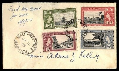 1955 Jamaica Half Way tree multicolored first day cover