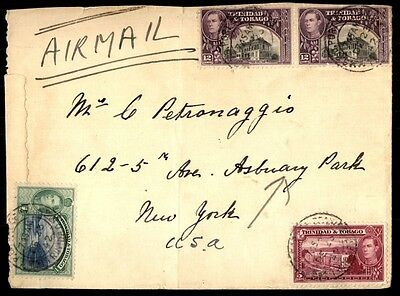 Trinidad & Tobago 1942 multicolored franking on cover to New York