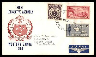 Western Samoa 1958 First Legislative Assembly Red & Blue Cacheted FDC