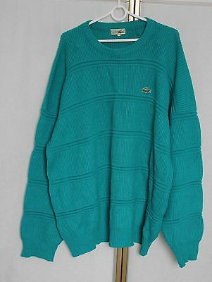 Vintage 80s Chemise Lacoste Wool + Acrylic Knit Sweater Jumper Made in France XL