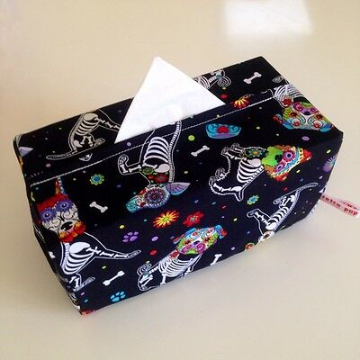 THE Retro Pop Homewares Tissue Box Cover Day of the Dead Skeleton Dogs