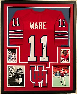 Andre Ware Autographed Custom Framed Houston Cougars Jersey 89 HEISMAN' Tristar