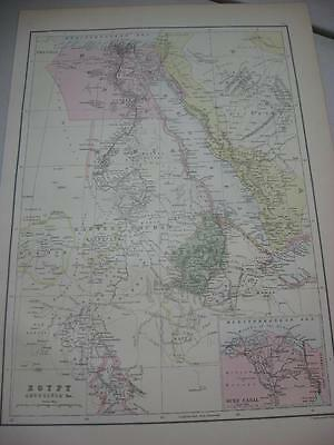 Egypt Abyssinia Red Sea Cairo Suez Canal antique Map Blacks atlas 1880s