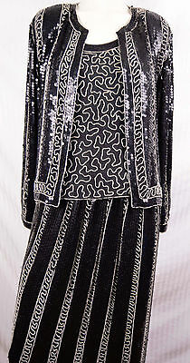 Vintage 20s Deco Style Evening Suit 3 PC Flapper Bead Sequin Seed Pearl Costume