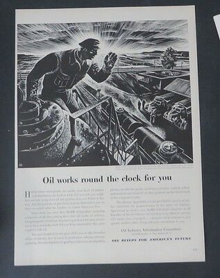 Original Print Ad 1949 OIL Works Round the Clock for You Industry Lynd Ward Art