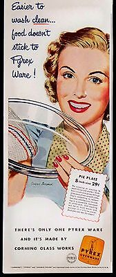 Vintage 1941 Pyrex Pie Plate Ovenware Magazine Ad Corning Glass Works