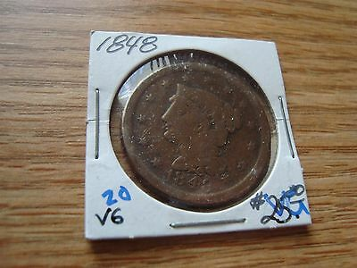 1848 1 Cent Braided Hair Large Cent Vg
