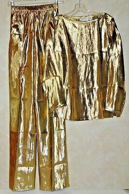 Vtg ANNE CRIMMINS sz 6 GOLD Metallic Pant Suit HOLIDAY CRUISE PARTY Tag $100 NOS