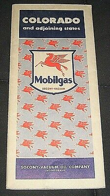 Vintage 1942 Mobilgas Socony-Vacuum Oil Company Colorado & Adjoining States Map