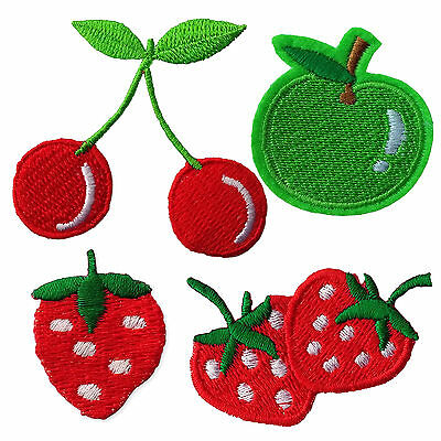 Cherry Apple Strawberry Fruits Iron Sew on Appliques Patches Embroidered Motif