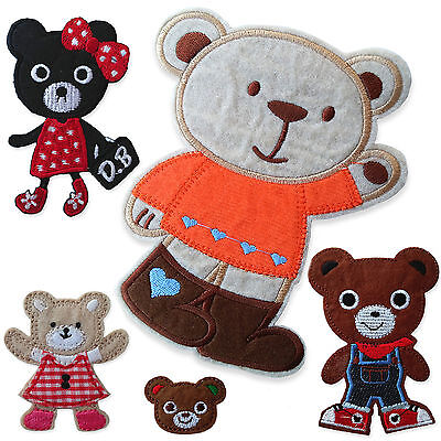 Cute Teddy Bears Iron Sew on Appliques Patches Gingham Animals Embroidered Motif