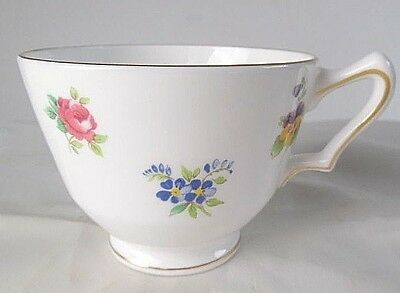 """Crown Staffordshire """"Floral Bouquet"""" Smooth Gold Rimmed Coffee/ tea cup"""