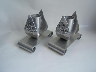 Vintage Aluminum Hammered Candle Sticks Leaf Flower Pattern