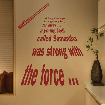 Personalized Star Wars A Long Time Ago Jedi Wall Quotes Stickers Kids 20-1