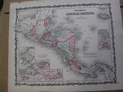 Vintage 1863  Central America Map Hand Colored Guatemala Nicaragua Costa Rica VG