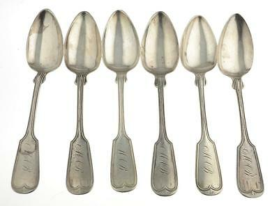 Set of 6 Southern Coin Silver Spoons Samuel Wilmot c1800's Charleston SC (Set A)