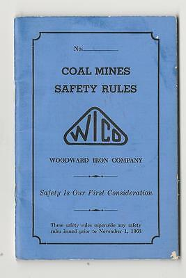 1963 Woodward Iron Company Coal Mines Safety Rule Book