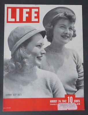 Original Life Magazine COVER ONLY Johnny Jeep Hats Fashion August 24 1942