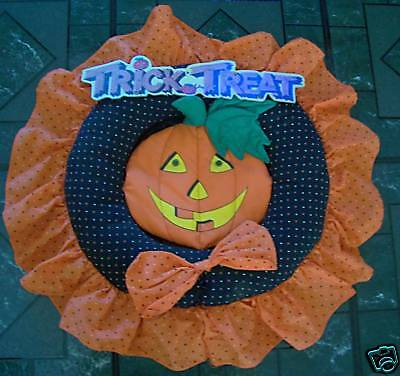 Trick or Treat Fabric Pumpkin Wreath Fall Halloween Decor Hand Crafted EUC