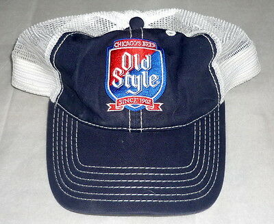Chicago Old Style Beer Mest Trucker Hat Hipster PBR Pabst Blue Ribbon