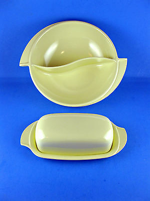 VINTAGE Retro BOONTON YELLOW DIVIDED BOWL BUTTER DISH LID Cover MELAMINE MELMAC!