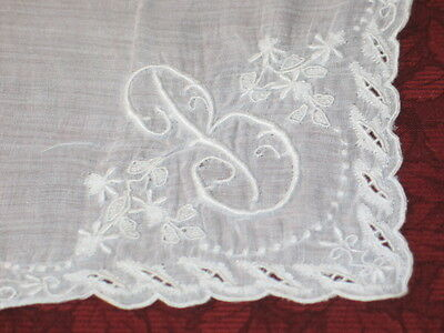 Stunning Antique Embroidered Lace Monogram~B~Handkerchief Hanky~Bridal~Wedding