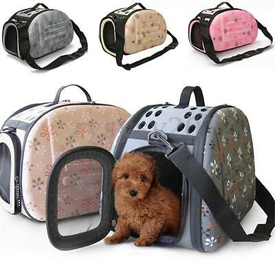 Puppy Pet Dog Cat Foldable Travel Carry Carrier Tote Cage Bag Crates Kennel UK