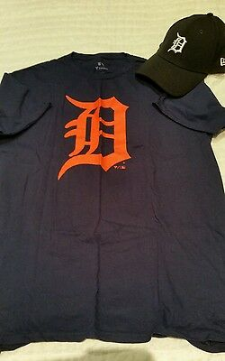 Detroit Tigers Shirt L and Hat Cap med-large fitted