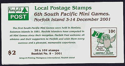 2001 Norfolk Island South Pacific Mini Games Local Post Booklet Sb15 Fine Mint