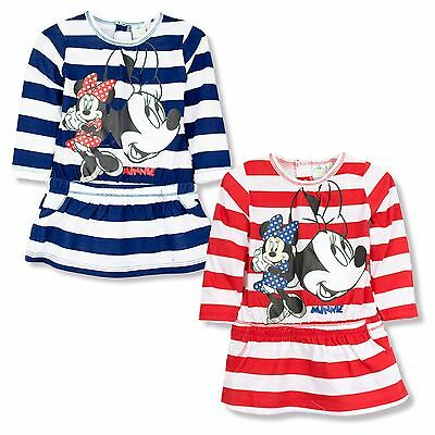 Disney Minnie Mouse baby Girls Long Sleeve Top Dress Tunic Striped 100% Cotton
