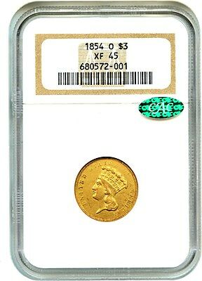 1854-O $3 NGC/CAC XF45 - Low Mintage Gold from New Orleans