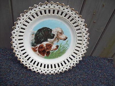 8.5 Inch/sporting Dogs/ribbon Plate/art Deco