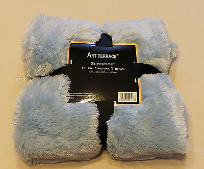 Art Terrace Blue Supersoft Long Shaggy Plush Sherpa Throw Rug 127cm x 152cm New