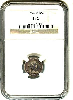 1803 H10c NGC F12 (Large 8) Colorful Toning - Early Half Dime - Colorful Toning