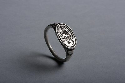 European Medieval Silver Signet Ring - 1500 AD