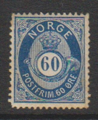 Norway - 1878, 60 ore Deep Blue stamp - M/M - SG 63
