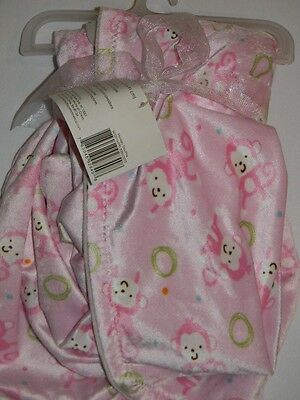New Beansprout Pink Monkey Green Circles White Baby Girl Velour Toss Blanket
