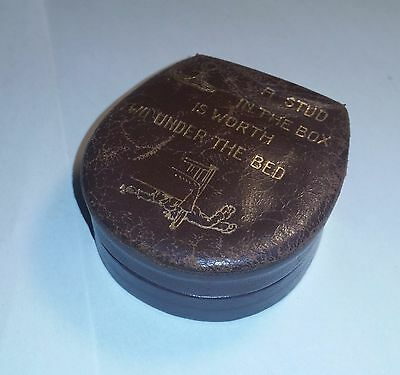Vintage 50s Mens Leather Collar Stud Box (or Cuff Links). Gold Lettering Motto