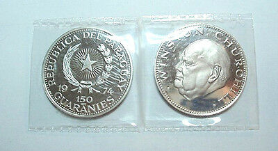 1974 Churchill Paraguay Silver Commemorative Round - Proof Cameo Condition 25 gr
