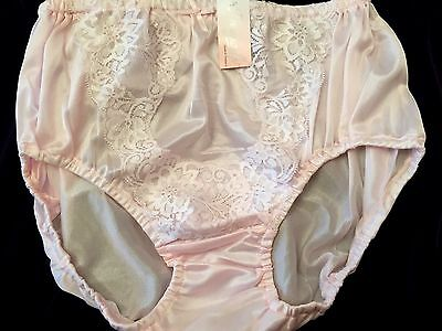Vintage Style Briefs Pink Satin Like Nylon Knickers Sissy Panties Lingerie Lacy