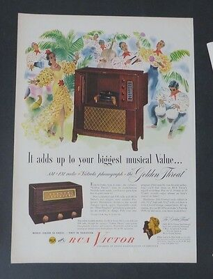 Original Print Ad 1949 RCA VICTOR GOLDEN THREAT Musical FM AM Vintage Art